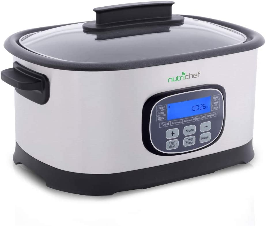 NutriChef Electric Slow Cooker 11 In 1 Cooking Functions CrockPot,Steamer, Sous Vide, Rice, Bake, Saute etc Stainless Steel, Digital Timer Display, 6.5 Quart Capacity 1500 Watt PKPC45