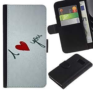 Billetera de Cuero Caso Titular de la tarjeta Carcasa Funda para Samsung Galaxy S6 SM-G920 / I love you Heart / STRONG