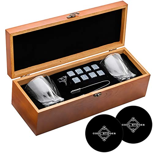 Whiskey Stones and Whiskey Glass Rectangle Gift Boxed Set - 8 Granite Chilling Whisky Rocks + 2 Glasses in Wooden Box - Great Gift for Father's Day, Dad's Birthday or Anytime For Dad (+ 2 Free