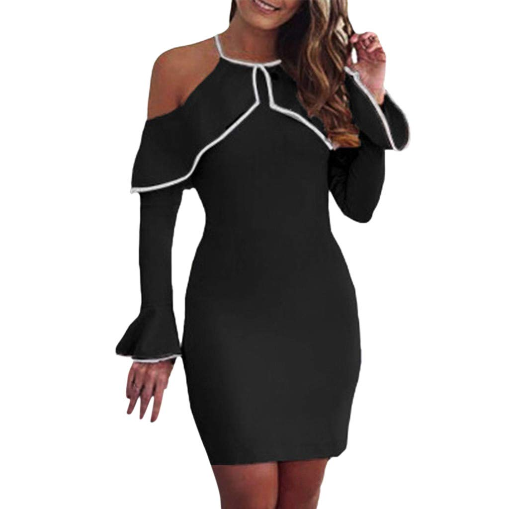 Womens Mini Dress Off Shoulder Ladies Party Stretch Party Evening Bodycon Dress
