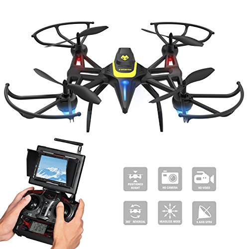 Drone with Camera & Screen, Tomzon New Generation F185DH FPV RC Quadcopter with Altitude Hold Function, Headless Mode, 2MP HD Camera and 5.8Ghz FPV LCD Screen Monitor – Black