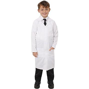 Disfraz de bata de laboratorio ILFD7100M para niños, unisex, larga, color blanco,