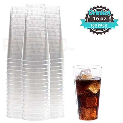 Large Plastic Cups 16 oz Clear Drinking Glasses 100 Pack Disposable Party Wine Glasses For Wedding, Occasion, Water, Cocktail, Punch, Soda DRINKET (Ounce Glasses 16 Drinking)