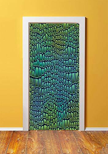 Abstract 3D Door Sticker Wall Decals Mural Wallpaper,Alligator Skin African Animal Crocodile Reptile Safari Wildlife Vibrant Artwork,DIY Art Home Decor Poster Decoration 30.3x78.11658,Green Blue ()