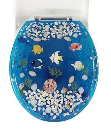 Daniel's Bath & Beyond Polyresin Round Fish Toilet Seat, 17'', Blue by Daniel's Bath & Beyond