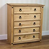 Home Discount Corona Rustic 5 Drawer Chest Mexican Solid Pine Wood Distressed Waxed Finish