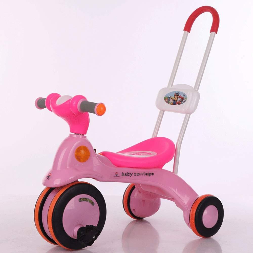 rose No push handle MEILA Le bébé des enfants avec de la musique allume le tricycle coulissant lisse bicyclette 2-6 ans voiture de pédale les hommes et les femmes bébé bicyclette plein bleu + lumière + commutateur