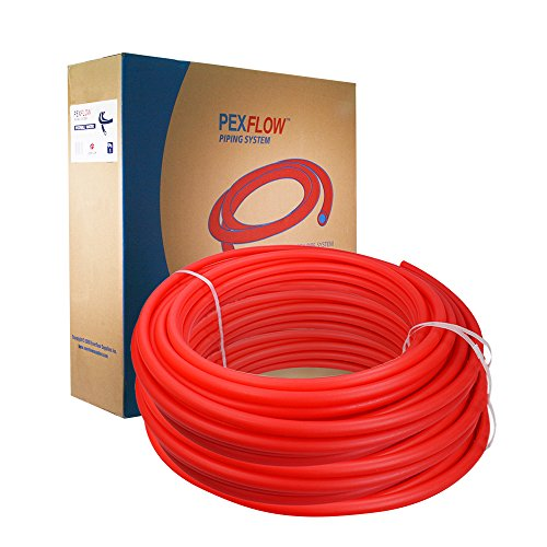 Pexflow Oxygen Barrier O2 PEX Tubing - PFR-R121000 1/2 Inch X 1000 Feet Tube Coil for Potable Water EVOH PEX-B Residential & Commercial Radiant Floor Heat & Cold Plumbing Application (Red) by PEXFLOW (Image #1)