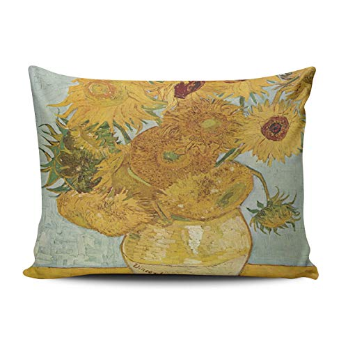 ONGING Decorative Pillowcases Orange and Blue Vincent Van Gogh Vase Sunflowers Customizable Cushion Rectangle Boudoir Size 12x18 inch Throw Pillow Cover Case Hidden Zipper One Side Design Printed