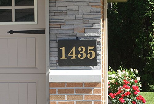 Rectangle Carved Slate House Number Sign- With Post and Light -