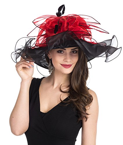 (Lucky Leaf Women Kentucky Derby Church Cap Wide Brim Summer Sun Hat for Party Wedding (Leaves-Black/Red))