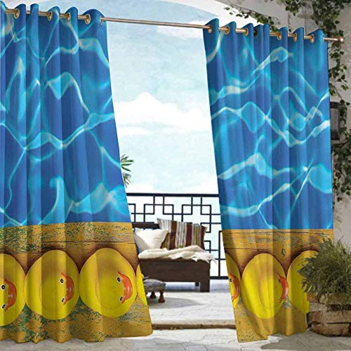 - DILITECK Home Patio Outdoor Curtain Yellow and Blue Cute Rubber Ducks Lined Up Near The Pool Azure Water Fun Summer Insulated with Grommet Curtains for Bedroom W96 xL84 Aqua Orange Yellow