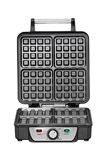 Chefman Belgian Waffle Maker, 4-Slice, Stainless Steel Non-Stick Cooking Surface, Cool Touch Handle, Adjustable Browning Control, Power/Ready Lights, Waffle Cookbook Included - RJ04-4P by Chefman (Image #4)'