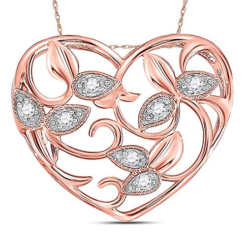 - 14kt Rose Gold Womens Round Diamond Floral Heart Pendant 1/6 Cttw