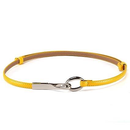 Cinturón de mujer para mujer Color sólido de la correa de la cintura flaca  del color 2e56965de53c