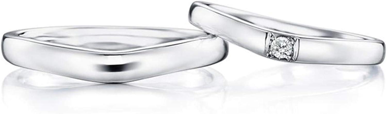 Epinki Anillo Oro Blanco 18k Forma V 4-Garras Diamante 0.05ct Anillos de Boda Hombre y Mujer