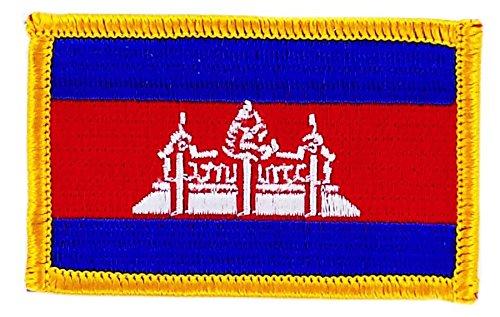 Abzeichen, Aufnäher, bestickt, Motiv Flagge Kambodscha, zum Aufbügeln, für Rucksack