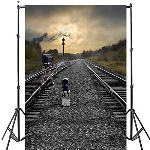 - Old Train Railroad Tracks Photography Background Backdrop 5x7ft Weeds Trees Mountain Smoky Nature Travel Scenery Backdrop for Photography Kids Children Newborn Photos Video Studio Props