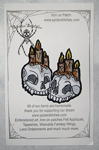 Together Forever Skulls with Candles Iron on Patch Skull -