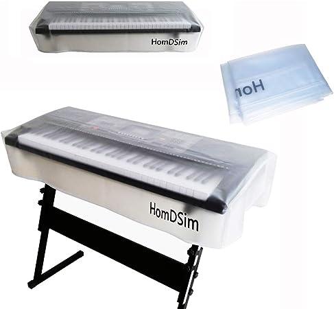 HomDSim Funda para teclado de piano a prueba de polvo elástica para teclados de 61 teclas 76 kye 88 teclas y P digital (61 teclas)