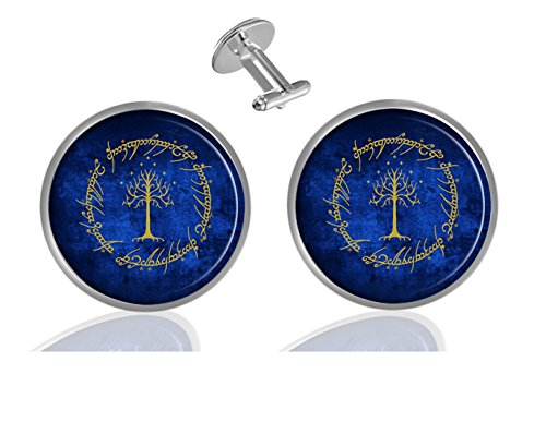 LCTCKP Lord Of The Rings Custom Personality Men's 2PCS Fashion Dazzling Shirt Cuff links Initial Silver Round Cufflinks