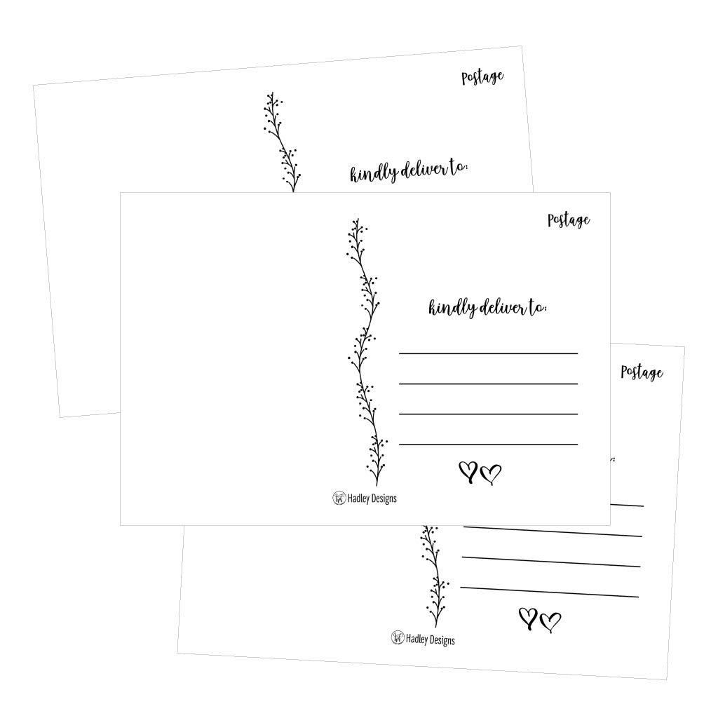 25 4x6 Blank Postcard Paper White Cardstock, DIY Kids Illustrated Design  Coloring Postal Cards For Children, Bulk Post Printable Plain Mailable