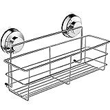 DOWRY Bathroom Deep Shower Basket Shelf with Suction Cups Stainless Steel,Bath Organizer Kitchen Storage Basket,11.81in(L) x3.15in(W) X3.15in(H).