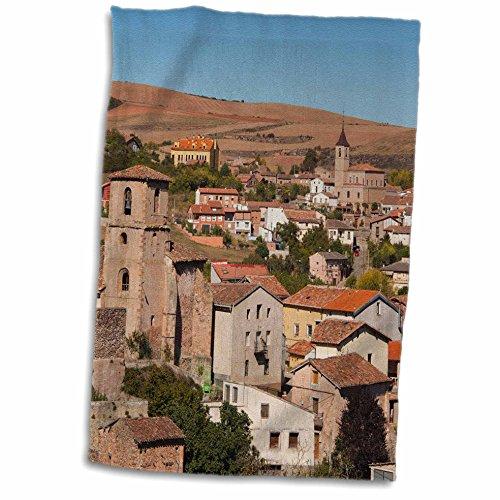 "3D Rose Spain-La Rioja-Villaverde-Elevated Town View-Eu27 Wbi0306-Walter Bibikow Towel 15"" x 22"""