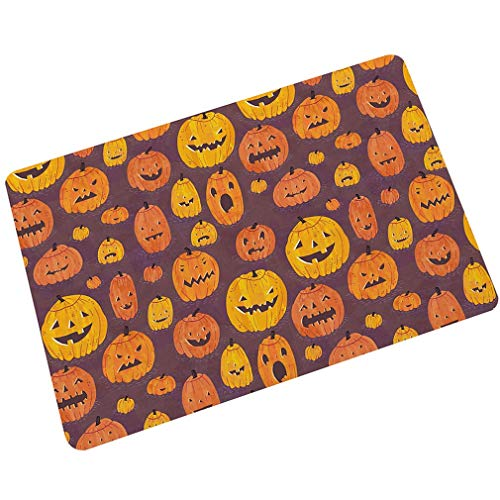 Wanrane Carpet Padding Doormat Halloween Porch Doormat Rubber Dirt Trapper Pumpkin Print Ultra Thin Bathroom Non Slip Rugs Mats (Color : Yellow, Size : -