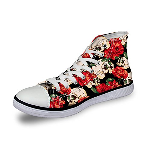 Cut Canvas Skull FOR 9 for UPS Casual Shoes Womens Sneaker High DESIGNS Trainers Season U Lace Shoes Skull UCCwqg