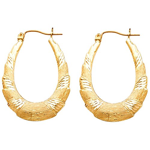 14k Yellow Gold Sandblast Finish Oval Hoop Earrings ()