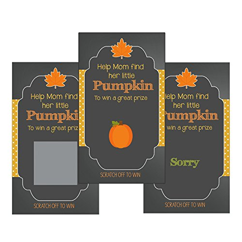 Set of 12 Scratch Off Game Cards for Baby Shower Games with Fall Pumpkin Chalk and Chalkboard SCF009