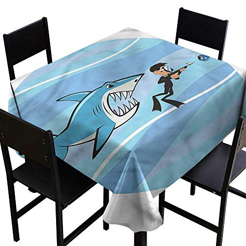 Decor Collection Table ClothsFun,Angry Shark Chasing a Diver,W36 x L36 Table Cover for Square Table