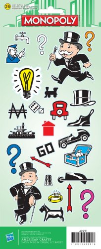 "Price comparison product image Cardstock Stickers 4.75""X12"" Sheet-Monopoly"