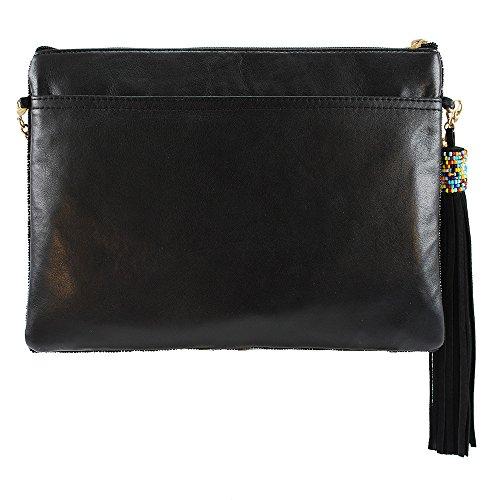 MARY FRANCES Mixed Message Beaded Leather Crossbody Zip Top Handbag by Mary Frances (Image #1)