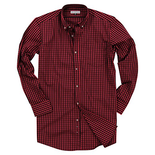 Men's Long Sleeve Button Down Stretch Fit Gingham Plaid Shirt (Red/Black Plaid, Medium) ()