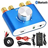 F900 Mini Bluetooth Power Amplifier Wireless Audio Receiver with 12V 5A DC Adapter, Stereo Hi-Fi Digital Amp 2 Channel 50W+50W with AUX/USB/Bluetooth Input (Amplifier+Adapter)