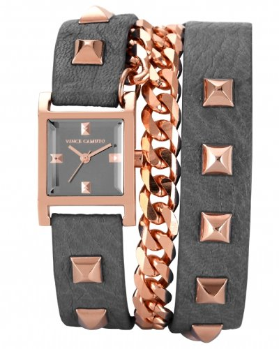 Vince Camuto Women's VC/5088RGGY Rose Gold-Tone Pyramid Studded Double Wrap Grey Leather Strap Watch
