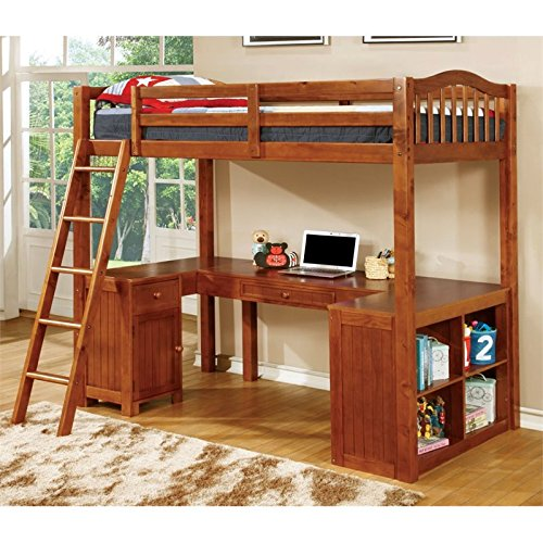 Furniture of America Lavinia Twin Loft Bed with Workstation, 41.625 by 80 by 75-Inch, Oak (Bed Tray Oak Finish)
