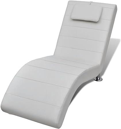 Vislone Chaise Longue Poltrona Relax Design Moderna in Pelle Artificiale Nera//Bianca con 2 Piedini e Poggiatesta