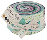 """Moda SIMPLY STYLE Jelly Roll 2.5"""" Precut Cotton Fabric Quilting Strips Assortment V and Co 10810JR"""