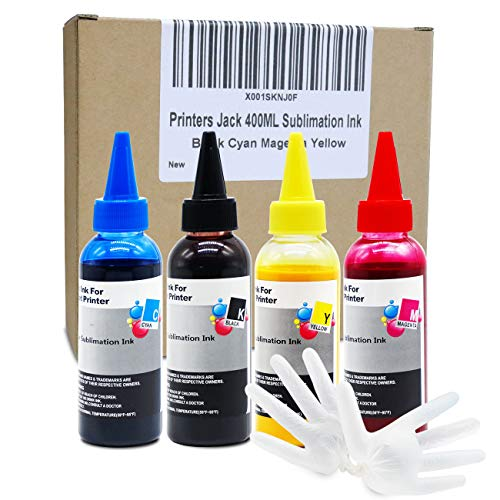 Printers Jack 400ML Sublimation Ink for Inkjet PrintersC88 C88+ WF7610 WF7010 WF7710 WF7720 WF7110 WF7210 WF3640 WF3610 WF3540 Heat Press Transfer on Mugs, Plates, Polyester Shirts, Phone Cases etc