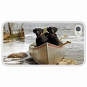 iPhone 4 4S Black Hardshell Case dog couple boats rocks river White Desin Images Protector Back Cover