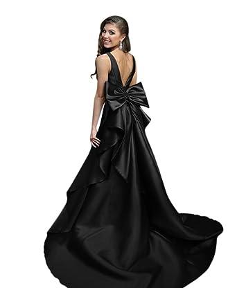 VinBridal Women¡¯s Backless Mermaid Long Satin Prom Dresses With Big Bow Black 2