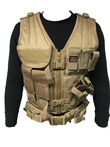 Cross Draw Vest (RECON GEAR MOLLE TACTICAL VEST with TACTICAL BELT & CROSS DRAW HOLSTER (Coyote))