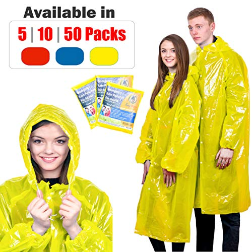KeepDry Extra Thick Disposable Emergency Rain Ponchos Premium Quality, Lightweight, Waterproof Tear Resistant for Hiking, Tours, Sightseeing, Disney, Festivals