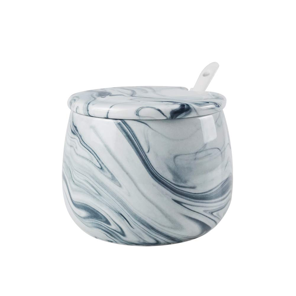 Sugar Bowl, Ceramic Black White Marble Sugar Bowl with Lid and Spoon for Home and Kitchen