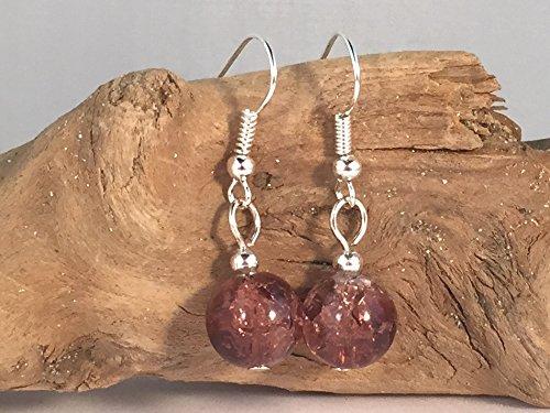 10mm Round Beads on Nickelfree Hooks Brown Crackle Glass Bead Earrings