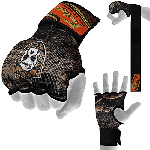 Fantasm Sports Karate Mit Black Sublimation Punching Elasticated Padded Bandages Under Mitts - Quick Long Wrist Support, Fist Protector - Great for MMA, Muay Thai, Kickboxing & Martial Arts