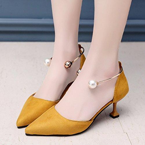 RUGAI-UE Señaló High-Heeled verano zapatos sandalias hueco Pearl zapatos de mujer Yellow